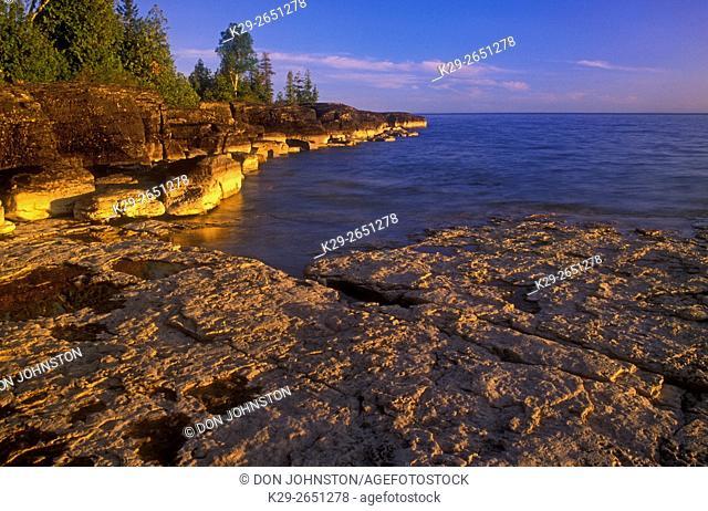 Lake Huron shoreline near Mississagi Point, Mississagi Lighthouse, Manitoulin Island, Ontario, Canada