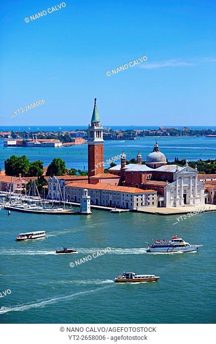 View of Church of San Giorgio Maggiore. . from the Campanile di San Marco (St. Mark's bell tower), Venice, Italy