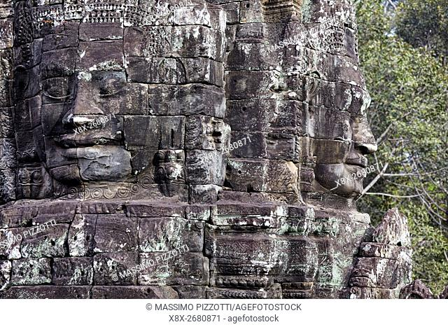 The serenity of the stone faces of Bayon temple, Siem Reap, Cambodia