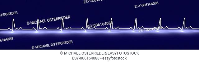 3D rendered Illustration. Heartbeat graph