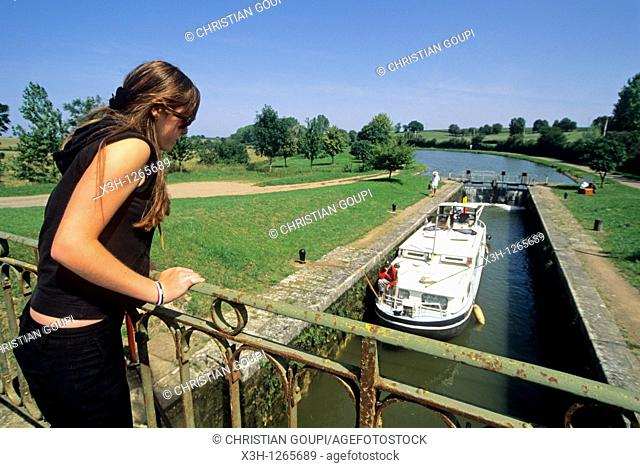 passing lock, river tourism on the Canal of Nivernais, Nievre department, region of Burgundy, center of France, Europe