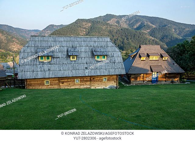 Guest house at Bruce Lee Street in Drvengrad village also called Kustendorf built by Emir Kusturica in Zlatibor District, Serbia
