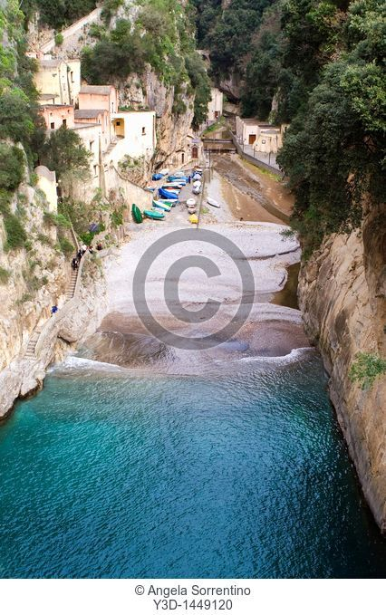 View on Furore beach and its turquoise water, Campania, Italy