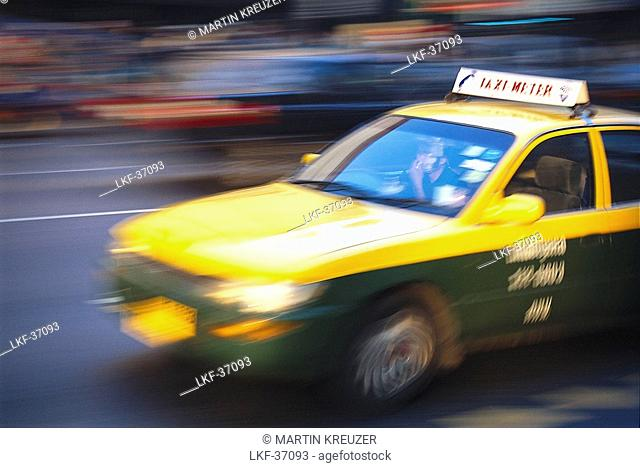 Taxi during rush hour, Siam Station, Bangkok, Thailand, Asia