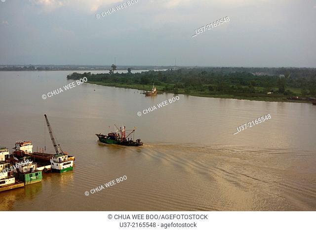 Sunset view at Rejang river from Kingwood Hotel, Sibu, Sarawak, Malaysia