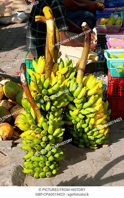 Maldives: Bananas in the fruit and vegetable market in the capital Male, North Male Atoll