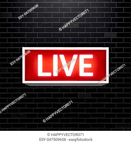 Creative vector illustration of on air live glowing sign isolated on background. Art design tv, radio station, broadcast symbol