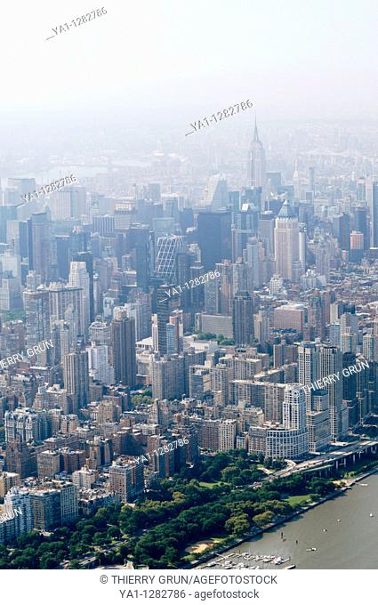 Aerial view of Midtown west during a polluted day in hot summer, Manhattan, New York city, USA