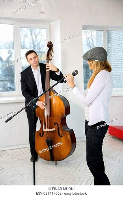 Musicians look at each other
