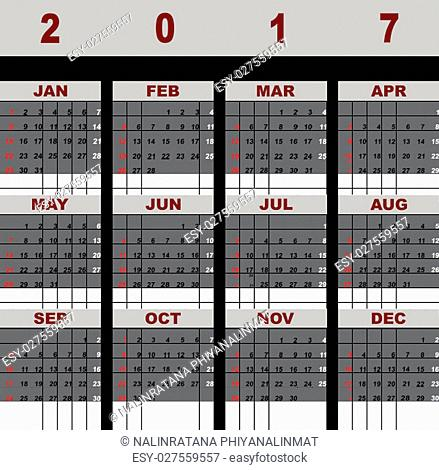 Created simple 2017 calendar template, stock vector