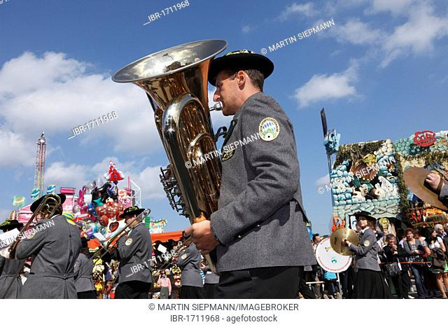 Tuba player of the of Au band in the Hallertau in the Bavarian Marksmen Federation, Costume and Riflemen's Procession at the Oktoberfest, Munich, Upper Bavaria