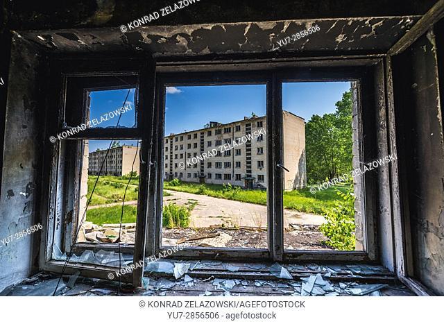 House of flats in Skrunda-1 ghost town, former site of Soviet Dnepr radar station from Cold War period near Skrunda town in Latvia