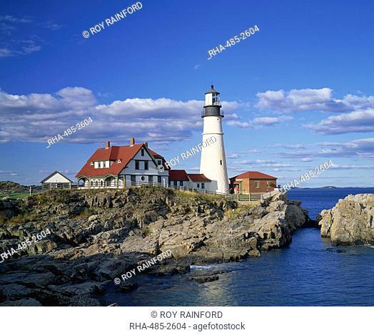 Portland Head lighthouse on rocky coast at Cape Elizabeth, Maine, New England, United States of America, North America