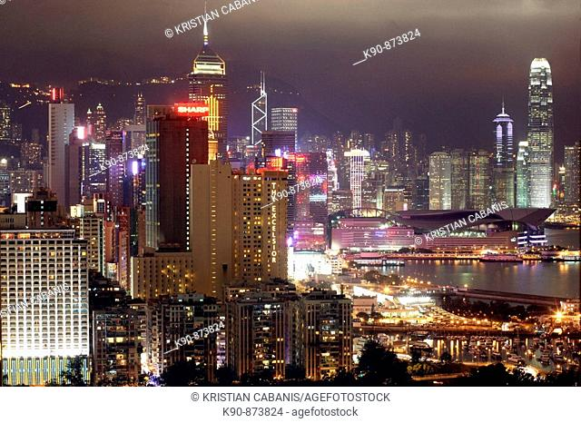 Elevated view over the nightlights of Causeway to Central of Hong Kong Island, Hong Kong, China, East Asia