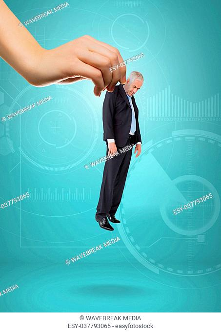 Hand choosing a business man on blue background