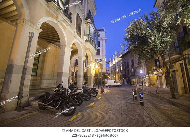 Cityscape in Palma de Majorca by night. Balearic Islands. Spain. The Parliament of tha Balearic islands