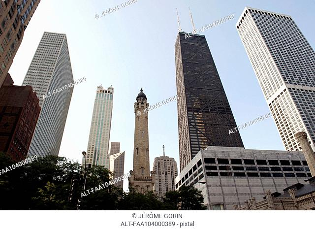 John Hancock Center and Chicago Water Tower, Chicago, Illinois, USA