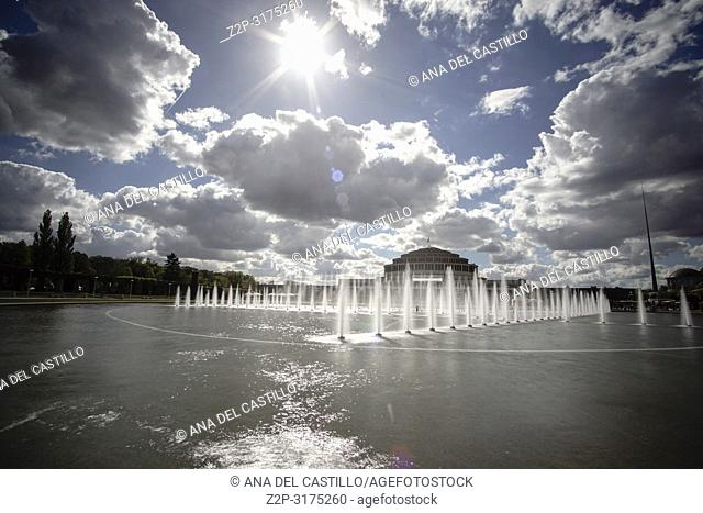 Fountain and Centennial Hall in background, Wroclaw, Poland. A UNESCO World Heritage Site