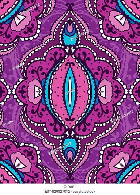 Seamless oriental pattern vector purple background