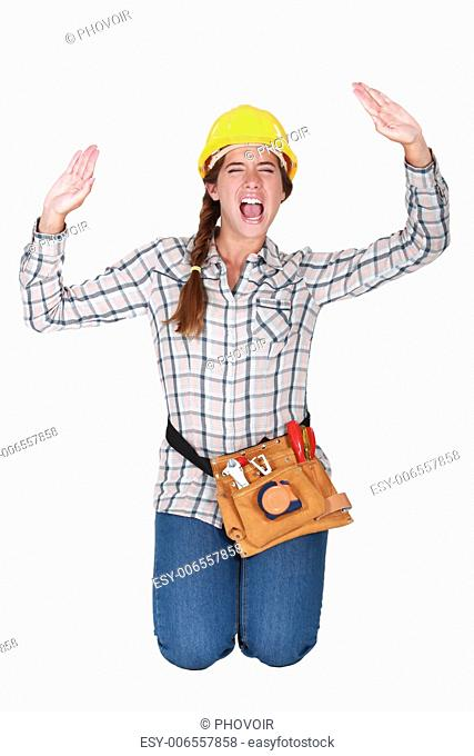 A female manual worker trapped in a box