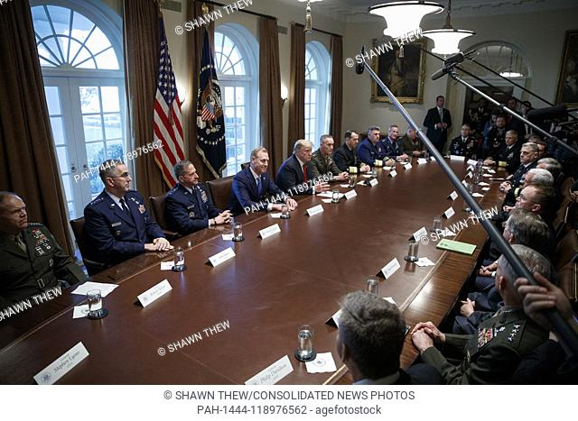 US President Donald J. Trump delivers remarks during a briefing by senior military leaders in the Cabinet Room of the White House in Washington, DC, USA
