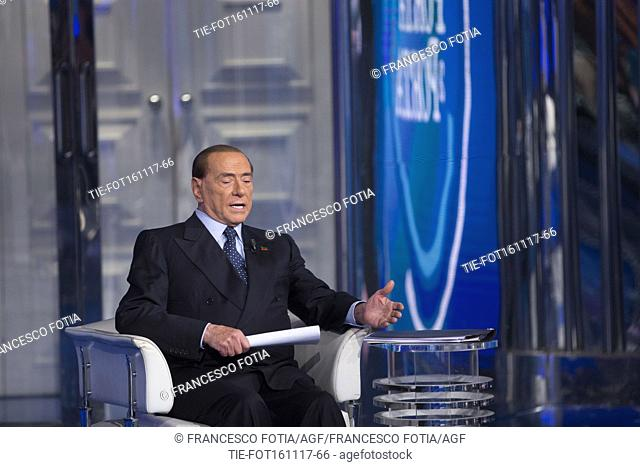 Leader of Forza Italia Party Silvio Berlusconi guest at tv show ' Porta a porta ' Rome, ITALY-16-11-207
