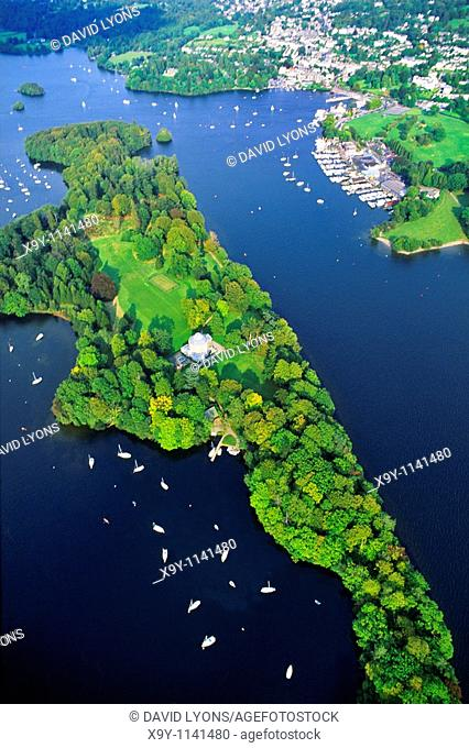 Lake Windermere in the Lake District National Park, Cumbria, England  Aerial over Belle Isle to the town of Bowness