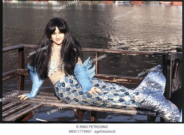 Luciana Littizzetto in Mai dire Gol. Italian writer and comedian Luciana Littizzetto wearing a mermaid costume. She takes part in the comic show Mai dire Gol