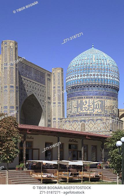 Uzbekistan, Samarkand, Bibi-Khanym Mosque, Bibikhanum Teahouse,