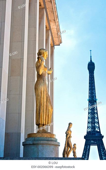 Paris and the Eiffel Tower as seen from Palais de Chaillot