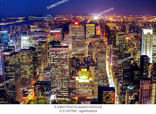 New York, NY, Skyline, Cityscape, Midtown Skyline, From Empire State Building, at Night