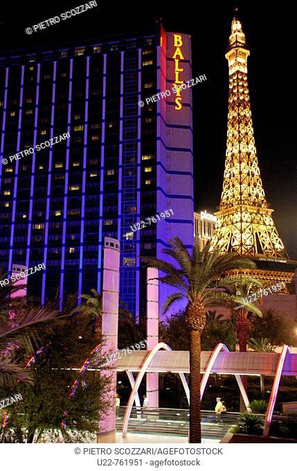 Las Vegas Nevada, the Ballys hotel and casino and the Eiffel tower of the Paris-Las Vegas casino along the Strip