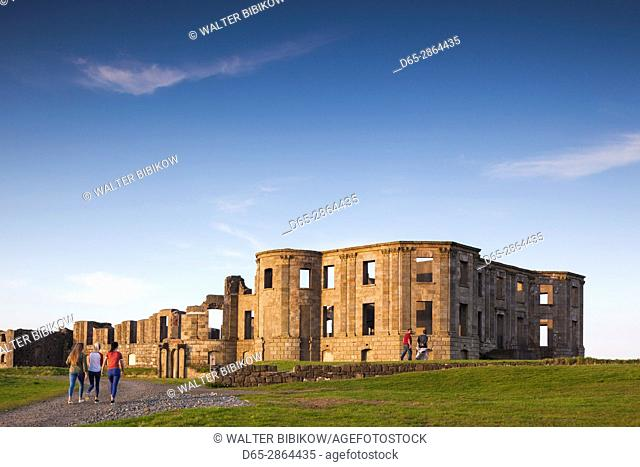 UK, Northern Ireland, County Londonderry, Downhill, Downhill Demesne, grand house ruins, dusk