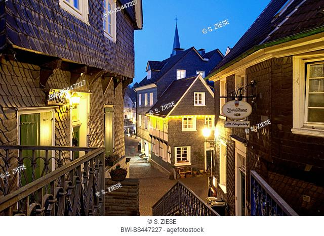 historical old city of Langenberg in the evening, Germany, North Rhine-Westphalia, Bergisches Land, Velbert