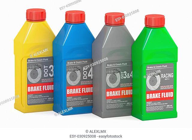 Set of Brake Fluid Bottles, 3D rendering isolated on white background