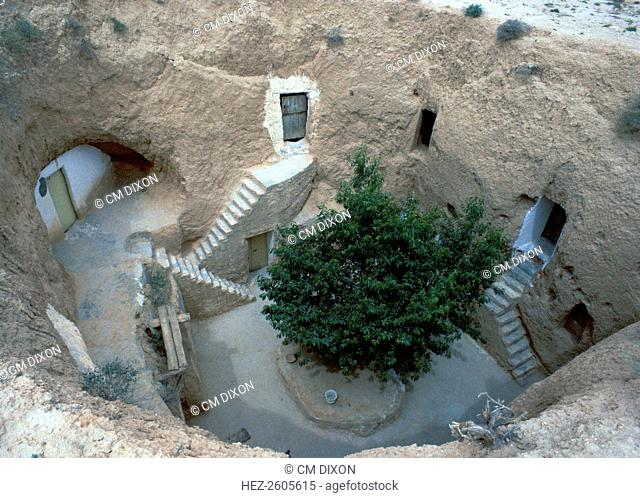 Pit dwelling in Matmata, Tunisia. Pit-dwelling protects against the sun's heat in summer and the cold winds in winter