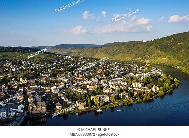 Overlook over Traben-Trabach and the Moselle river, Moselle valley, Rhineland-Palatinate, Germany