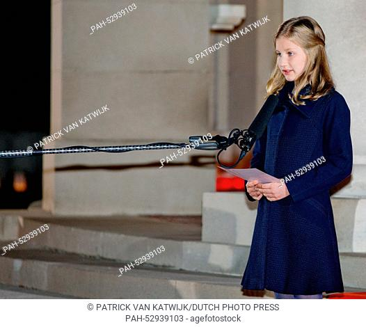 Princess Elisabeth of Belgium attends a First World War commemoration, in Ploegsteert, Belgium, 17 October 2014. The Lichtfront will illuminate the front line...
