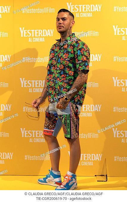 Emis Killa during the photocall of film ' Yesterday ' in Milan, ITALY-20-06-2019