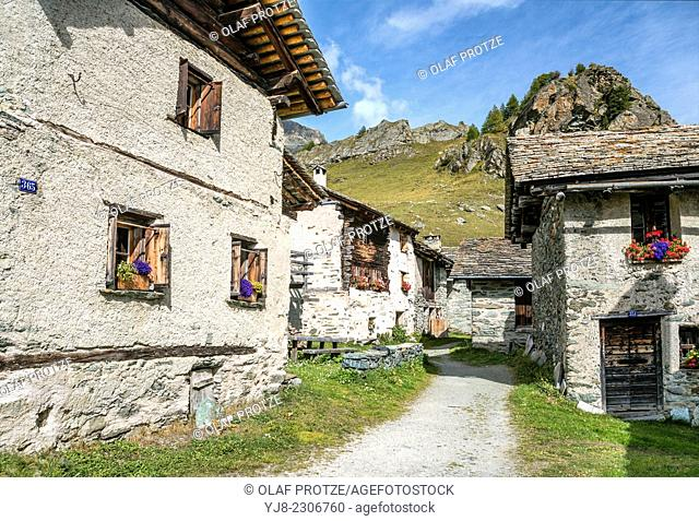 Heidi Village Grevasalvas in Summer, Grisons, Switzerland
