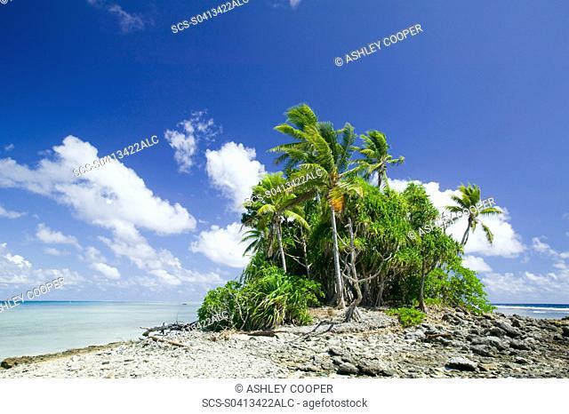 Funafuti atol on Tuvalu threatened by global warming induced sea level rise