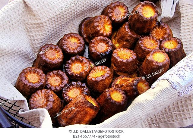 Food: the famed 'canelets' (canelés) cakes from Bordeaux, Gironde, Aquitaine, France