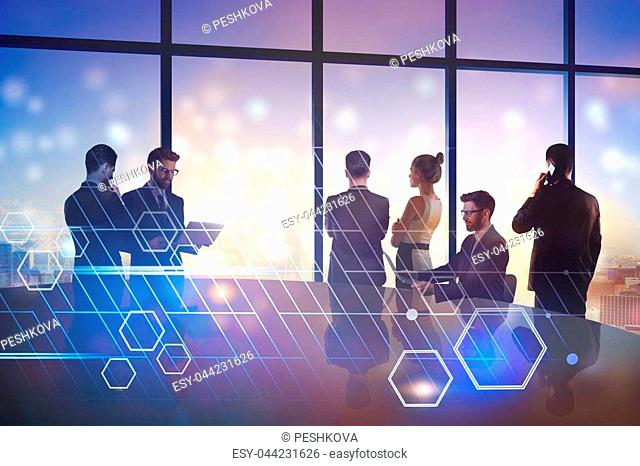 Crowd of businesspeople in abstract blue interior with digital interface. Meeting and discussion concept. Double exposure