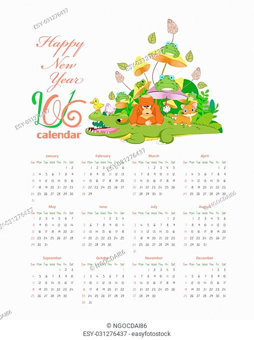 Calendar with animals so cute 2016