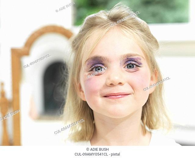 Girl having done her own make-up