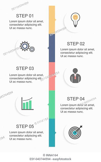 Vertical timeline with five rounded paper white elements with flat icons. Infographic design template. Vector illustration