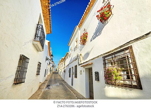Narrow street in Altea. Alicante. Valencia community. Spain