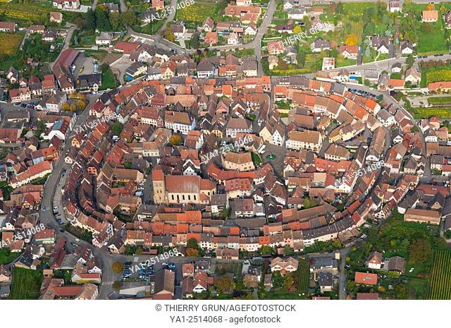France, Haut Rhin 68, village of Eguisheim, classified most French beautiful village aerial view