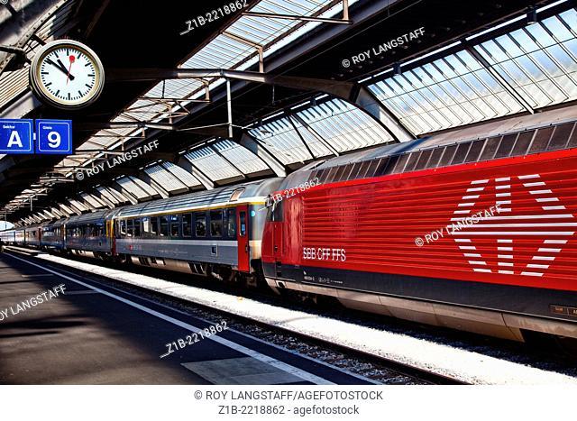 A Swiss train waiting to depart Zurich's main station