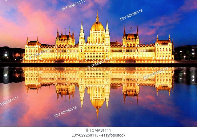 Budapest - Hungarian parliament.with reflection in Danube river at night - Hungary
